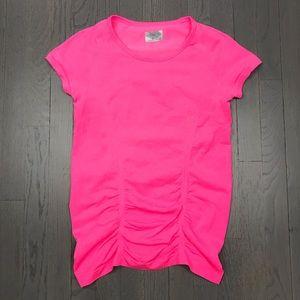 Athleta Maternity Pink Ruched Gym Athletic Shirt
